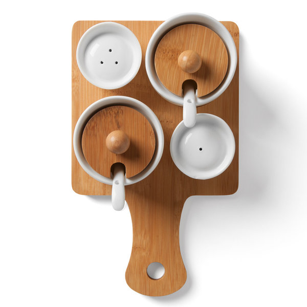 Wood & Ceramic Seasoning Set